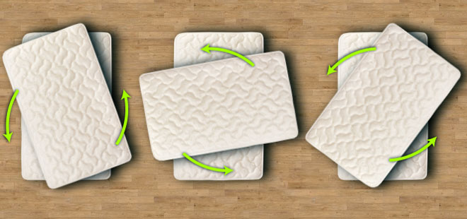 Rotating your mattress will help you maintain even wear and avoid body impressions.