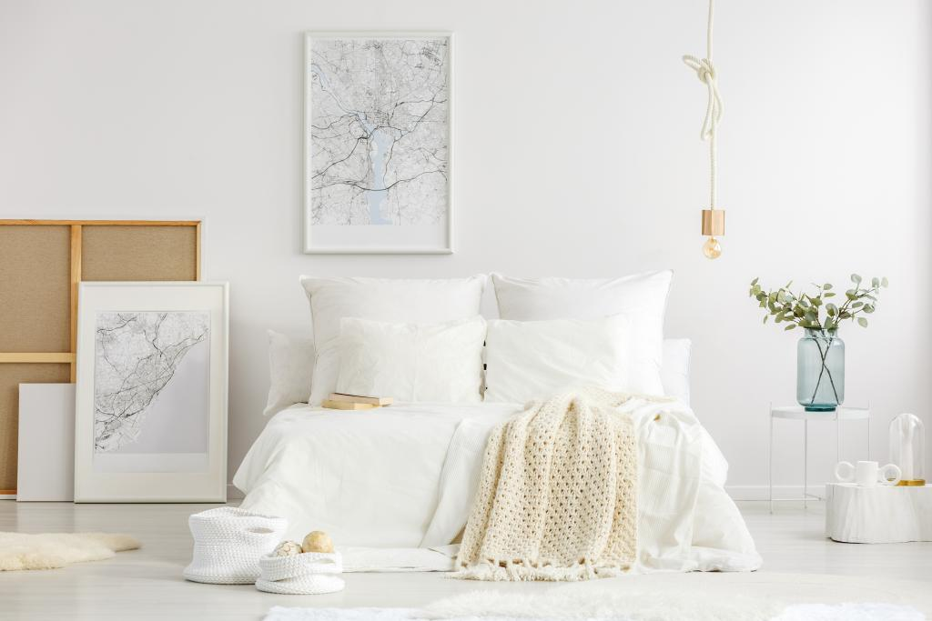 White minimalist master bedroom interior