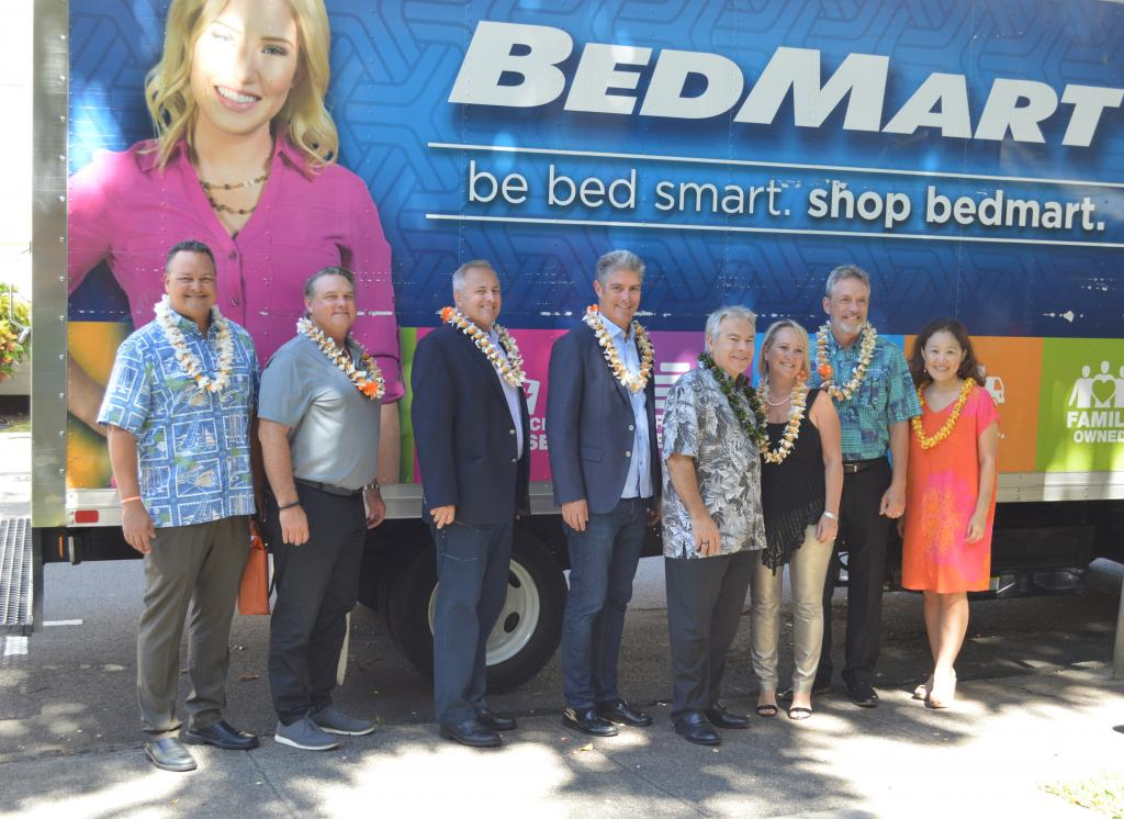 BedMart team presents donation to YWCA O'ahu with Tempur-Pedic staff